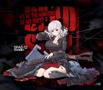 1girl alternate_costume armor axe bangs belt black_background black_pupils black_ribbon blood blood_drip blood_on_face bloody_clothes bloody_weapon braid breastplate breasts character_name cleavage corset crazy_eyes damaged dress elbow_pads eyebrows_visible_through_hair flag full_body girls_frontline gloves gradient_hair greaves grey_dress grey_hair gun hand_behind_head highres holding holding_gun holding_weapon large_breasts long_hair looking_at_viewer multicolored_hair namesake neck_ribbon official_art plate_armor pouch red_eyes red_hair red_ribbon ribbon shield shotgun shotgun_shells sidelocks silver_hair sitting slit_pupils smile solo spas-12 spas-12_(girls_frontline) sword terras torn_clothes twintails wariza weapon