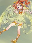1girl angel angel_wings aokaze_(mimi_no_uchi) bow bow_(weapon) bowtie brown_hair commentary_request dress feathered_wings flying green_dress green_eyes green_panties halo head_tilt holding holding_weapon idolmaster idolmaster_(classic) layered_dress looking_at_viewer open_mouth orange_footwear orange_neckwear panties pantyshot pointing pointing_at_viewer sandals sleeveless sleeveless_dress smile solo takatsuki_yayoi thigh_strap twintails underwear weapon wings