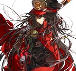 1girl black_hair black_hat black_jacket cape chain commentary_request double-breasted family_crest fate/grand_order fate_(series) gloves gun hat holding holding_gun holding_sword holding_weapon jacket military military_hat military_uniform oda_nobunaga_(fate) peaked_cap red_cape red_eyes shino_(eefy) smile solo sword uniform weapon white_gloves