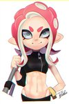 1girl >:) chromatic_aberration closed_mouth crop_top e-liter_4k_(splatoon) groin hand_up highres holding isamu-ki_(yuuki) long_hair looking_at_viewer navel octarian octoling pink_hair signature silver_eyes simple_background single_sleeve sleeves_past_elbows smile solo splatoon_(series) splatoon_2 splatoon_2:_octo_expansion suction_cups tentacle_hair v-shaped_eyebrows white_background zipper zipper_pull_tab