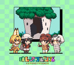 4girls :o animal_ears animated arm_at_side backpack bag bird_tail black_eyes black_gloves black_hair blinking blonde_hair bow bowtie brown_eyes brown_hair bucket_hat checkered checkered_background chibi closed_mouth coat commentary copyright_name ear_twitch elbow_gloves eurasian_eagle_owl_(kemono_friends) from_side full_body fur_collar gloves grey_hair hand_up hands_up hat hat_feather holding holding_spoon kaban_(kemono_friends) kemono_friends long_sleeves looking_at_another midoribox multicolored_hair multiple_girls northern_white-faced_owl_(kemono_friends) open_mouth pantyhose pixel_art red_shirt serval_(kemono_friends) serval_ears serval_print serval_tail shirt short_hair shorts sleeveless sleeveless_shirt spoon striped_tail tail ugoira yellow_eyes