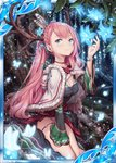 1girl akkijin black_dress blue_eyes blue_flower breasts bug butterfly cape card_(medium) cleavage deer_antlers dress flower forest horns insect looking_at_viewer nature official_art pink_hair seiza shinkai_no_valkyrie sitting