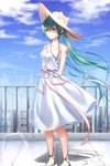 1girl arms_behind_back bangs blue_sky bow breasts cleavage cloud collarbone day dress eyebrows_visible_through_hair floating_hair geduan green_eyes green_hair hair_between_eyes hat hat_bow hatsune_miku highres jewelry long_hair medium_breasts necklace number outdoors pink_bow pink_ribbon ribbon sky sleeveless sleeveless_dress smile solo standing sun_hat sundress tattoo twintails very_long_hair vocaloid white_dress white_hat