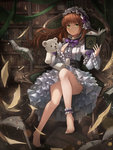 1girl :< absurdres ankle_cuffs ankle_garter bangs barefoot bonnet book bookmark bookshelf bow bowtie brown_hair chair commentary convenient_leg crystalherb dress eyebrows_visible_through_hair frilled_dress frilled_sleeves frills frown full_body green_eyes hand_up highres holding holding_book holding_stuffed_animal indoors library lolita_fashion long_hair long_sleeves looking_at_viewer open_book original papers purple_bow sitting solo stuffed_animal stuffed_toy teddy_bear wooden_floor
