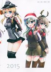 3girls absurdres anchor_hair_ornament animal_ears aqua_eyes arms_behind_back bangs bankoku_ayuya black_legwear black_ribbon black_skirt blonde_hair blue_eyes blush bound bound_arms box breasts buttons capelet closed_mouth deer_ears doughnut eyebrows_visible_through_hair food fur_trim gift gift_box gloves green_eyes green_hair hair_ornament hands_together hat highres holding iron_cross kantai_collection kumano_(kantai_collection) light_brown_hair long_sleeves looking_at_viewer low_twintails medium_breasts microskirt military military_hat military_uniform multiple_girls open_mouth peaked_cap pleated_skirt pom_pom_(clothes) ponytail prinz_eugen_(kantai_collection) ribbon santa_hat scan shiny shiny_hair shiny_skin skirt smile suzuya_(kantai_collection) thighhighs twintails uniform white_gloves zettai_ryouiki