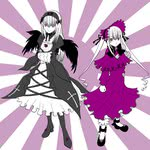2girls ankle_ribbon black_wings bonnet crossed_arms dress flat_color flower frills full_body hairband hand_on_hip linjara long_sleeves multiple_girls ribbon rose rozen_maiden shinku standing suigintou wings
