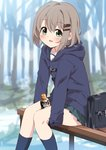 1girl :d absurdres bangs between_legs blue_jacket blurry blurry_background blush bottle commentary_request depth_of_field eyebrows_visible_through_hair green_eyes green_skirt hair_between_eyes hair_ornament hairclip highres hood hood_down hooded_jacket jacket kneehighs light_brown_hair looking_at_viewer mousou_(mousou_temporary) navy_blue_legwear on_bench open_mouth pleated_skirt school_briefcase school_uniform sidelocks sitting sitting_on_bench skirt smile solo yama_no_susume yukimura_aoi