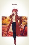 1girl :d absurdres adjusting_eyewear ahoge ankle_boots autumn black-framed_eyewear blue_pants boots brown_coat brown_eyes brown_footwear brown_hair coat fate/grand_order fate_(series) fujimaru_ritsuka_(female) full_body glasses hair_between_eyes hand_in_pocket highres looking_at_viewer marei_(mercy) open_clothes open_coat open_mouth pants short_hair side_ponytail smile solo standing sweater watch white_sweater wristwatch