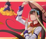 55level absurdres ajirogasa bead_necklace beads black_hair breasts cleavage cloud dragon_ball dragon_ball_(classic) earrings fate/grand_order fate_(series) flying_nimbus hat highres hoop_earrings jewelry long_hair monkey_tail necklace red_background son_gokuu staff tail xuanzang_(fate/grand_order)