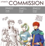 1girl 2boys armor artist_request blue_eyes blue_hair breasts dress earrings eliwood_(fire_emblem) english fingerless_gloves fire_emblem fire_emblem:_rekka_no_ken gloves green_eyes green_hair greyscale hector_(fire_emblem) high_ponytail jewelry long_hair lyndis_(fire_emblem) male_focus monochrome multiple_boys ponytail red_hair short_hair smile sword weapon