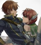 1girl blush brother_and_sister cape dress elbow_gloves fire_emblem fire_emblem:_rekka_no_ken gloves green_eyes kometubu0712 looking_at_viewer priscilla_(fire_emblem) raven_(fire_emblem) red_eyes red_hair short_hair siblings smile