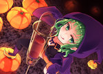 1girl :p black_legwear black_skirt blood blush breasts cleavage collarbone from_above green_eyes green_hair gumi halloween halloween_costume highres hood hooded_jacket jacket kneehighs long_sleeves looking_at_viewer medium_breasts nanashi_(nns040p) neck_ribbon open_clothes open_jacket orange_shorts pumpkin purple_jacket ribbon shorts skirt solo standing_on_object syringe thighhighs tongue tongue_out very_long_sleeves vocaloid witch yellow_footwear