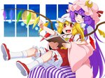 2girls arm_rest arm_up blonde_hair bloomers book clenched_hand commentary_request cravat crescent crescent_hair_ornament crystal double_bun dress eichi_yuu fangs flandre_scarlet full_moon hair_ornament hair_ribbon hat head_on_head head_tilt holding holding_book leg_lift light_particles long_hair long_sleeves looking_away mary_janes mob_cap moon multiple_girls night open_book open_mouth patchouli_knowledge pink_robe purple_eyes purple_hair red_eyes red_footwear red_skirt red_vest ribbon robe shoe_soles shoes short_hair side_ponytail sidelocks sitting sitting_on_lap sitting_on_person skirt socks striped striped_dress touhou tress_ribbon underwear upper_teeth very_long_hair vest white_legwear wings yellow_neckwear