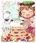 1girl :3 >_< animal_ear_fluff animal_ears banana_slice blue_background blueberry blurry bow bowtie brown_hair cat_ears cat_tail chen closed_eyes commentary_request confetti creature depth_of_field fang fireworks food fruit happy hat high_collar highres holding ibaraki_natou kiwi_slice long_sleeves mob_cap mochen multiple_tails number open_mouth pancake party_popper plate pocky raspberry red_skirt red_vest shirt short_hair skirt smile solo sparkler stack_of_pancakes standing strawberry streamers table tail touhou upper_body vest whipped_cream white_neckwear white_shirt