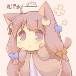 1girl ahoge animal_ears bow cat cat_ears catchouli chestnut_mouth chibi commentary crescent eyebrows_visible_through_hair eyes_visible_through_hair hazuki_ruu long_hair mukyuu patchouli_knowledge purple_eyes purple_hair solo tail touhou