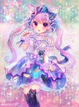 1girl :d amo animal_band_legwear animal_ears animal_print artist_name badge black_legwear black_nails blue_bow blue_dress blush bow button_badge cat_band_legwear cat_ears cat_print center_frills chain_necklace commentary_request dress fang frilled_bow frills glitter hair_bow highres jewelry long_hair looking_at_viewer multicolored multicolored_clothes multicolored_dress nail_polish neck_ribbon open_mouth original over-kneehighs overskirt paw_pose pendant print_dress purple_dress purple_eyes purple_hair purple_neckwear ribbon sash skirt_hold smile solo sparkle thighhighs twintails v-shaped_eyebrows wrist_cuffs
