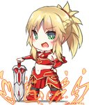 1girl :d armor bad_id bad_pixiv_id bangs bare_shoulders black_legwear blonde_hair blush boots braid breastplate chibi commentary_request dated dreamusun eyebrows_visible_through_hair fang fate/apocrypha fate/grand_order fate_(series) fire green_eyes hand_on_hilt hand_on_hip long_hair mordred_(fate) mordred_(fate)_(all) navel open_mouth ponytail red_armor red_footwear sidelocks signature smile solo standing sword thighhighs weapon white_background