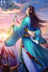1boy arm_behind_back artist_name black_hair blue_robe boat bug chinese_clothes cloud dock dragon dragonfly eastern_dragon flute hanfu highres insect instrument long_hair male_focus original outdoors pier reeds robe scroll shadowgrave solo standing sunset tassel very_long_hair water watercraft watermark web_address wide_sleeves