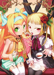 2girls absurdres armpits bare_shoulders bell bell_collar black_legwear blazblue blonde_hair bow collar crepe cup drink flower food garter_straps green_eyes hair_bow hair_flower hair_ornament highres multiple_girls non-web_source official_art platinum_the_trinity rachel_alucard red_bow red_eyes symbol-shaped_pupils tea teacup thighhighs twintails white_legwear wrist_cuffs