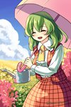 1girl ascot checkered checkered_skirt checkered_vest douji field flower flower_field green_hair kazami_yuuka parasol skirt smile solo touhou umbrella water_drop water_wings watering_can