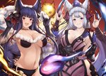 2girls animal_ears bangs bare_shoulders bell black_gloves blue_eyes blunt_bangs blush breasts cleavage collarbone commentary detached_sleeves erune fox_ears fox_shadow_puppet fox_tail fur fur_trim gloves granblue_fantasy haido_(ryuuno_kanzume) hair_bell hair_ornament hairpin hips japanese_clothes jingle_bell kimono large_breasts long_hair looking_at_viewer multiple_girls navel open_mouth red_eyes sash sideboob sidelocks silver_hair smile socie_(granblue_fantasy) tail very_long_hair yuel_(granblue_fantasy)