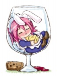1girl :x alcohol animal_ears boots bunny_ears cheese chibi closed_eyes cork cup drinking_glass drunk food glass in_container in_cup maid minigirl piku pink_hair shakugan_no_shana solo wilhelmina_carmel wine