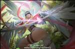 1girl angel_wings angewomon arrow ass asymmetrical_clothes bare_shoulders belt blonde_hair bow_(weapon) breasts c-a-t_c-a-t cleavage digimon digimon_adventure firing forest gloves head_wings helmet large_breasts long_hair looking_back multiple_wings nature outdoors pink_ribbon ribbon solo thigh_strap weapon wings