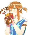 1boy apple armband blonde_hair blush collarbone earrings eating eyelashes fingerless_gloves food fruit gloves green_eyes hair_tie holding holding_food honey jewelry link looking_at_viewer marker_(medium) open_mouth photo pointy_ears roda_(roda826) shirt short_ponytail short_sleeves simple_background solo teeth the_legend_of_zelda the_legend_of_zelda:_breath_of_the_wild third-party_edit traditional_media tunic upper_body waifu2x white_background