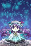 1girl absurdres blue_background book calligraphy character_name crescent crescent_moon_pin cursive english eyebrows_visible_through_hair glowing gradient gradient_background highres light_particles long_hair looking_up magic open_book patchouli_knowledge purple_eyes purple_hair sketch solo sonosaki_kazebayashi touhou upper_body very_long_hair yellow_neckwear