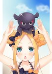 1girl abigail_williams_(fate/grand_order) animal animal_on_head bangs bare_arms bare_shoulders bikini black_bikini black_bow blonde_hair blue_eyes blue_sky blush bow chestnut_mouth cloud collarbone commentary_request day double_bun emerald_float eyebrows_visible_through_hair fate/grand_order fate_(series) hair_bow halter_top halterneck highres kokuto_(kurousagi1210) long_hair octopus on_head orange_bow parted_bangs parted_lips polka_dot polka_dot_bow side_bun sidelocks sky solo swimsuit tokitarou_(fate/grand_order)
