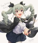 1girl :d anchovy artist_name bangs belt black_cape black_neckwear black_ribbon blue_skirt cape character_name cowboy_shot dated drill_hair fingernails girls_und_panzer grey_background grey_hair hair_ribbon happy_birthday holding leaning_forward long_hair long_sleeves looking_at_viewer necktie open_mouth outstretched_arms pantyhose pointing pointing_at_viewer purple_eyes ribbon riding_crop round_teeth shamakho shiny shiny_hair shirt simple_background skirt smile solo teeth twin_drills twintails upper_teeth v-shaped_eyebrows white_legwear white_shirt