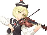 1girl blonde_hair bow_(instrument) dress_shirt hat instrument long_sleeves looking_at_viewer lunasa_prismriver music parted_lips playing_instrument rokuwata_tomoe shirt short_hair simple_background solo touhou upper_body vest violin white_background white_shirt yellow_eyes