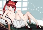 1girl animal_ears bangs black_bow black_footwear bloomers blush bow braid cat_ears cat_tail collarbone flat_chest hair_bow head_tilt high_heels indoors kaenbyou_rin knees_up long_hair looking_at_viewer lying mary_janes multiple_tails nekomata nipples on_back paburisiyasu paw_print pillow pointy_ears shadow shoes smile solo tail thighs topless touhou twin_braids twintails two_tails underwear white_bloomers