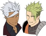 2boys achilles_(fate) dark_skin dark_skinned_male fate/apocrypha fate_(series) green_hair grey_hair gundam gundam_tekketsu_no_orphans hikichi_sakuya look-alike male_focus multiple_boys one_eye_closed orga_itsuka pointy_hair portrait smile white_background