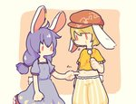 2girls ahoge animal_ears blue_dress blue_hair bunny_ears bunny_tail commentary dango dress ear_clip eating flat_cap floppy_ears food hat looking_down marogare_niwa midriff multiple_girls navel no_mouth orange_hair orange_shirt poking puffy_short_sleeves puffy_sleeves red_eyes ringo_(touhou) seiran_(touhou) shirt short_sleeves shorts simple_background skewer tail touhou twintails wagashi |_|