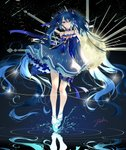 1girl absurdly_long_hair absurdres bare_shoulders blue_bow blue_dress blue_eyes blue_footwear blue_hair blue_nails bow constellation_print dress earrings floating frilled_dress frills full_body hair_between_eyes hair_bow hatsune_miku highres jewelry leg_garter long_hair long_sleeves night night_sky pecchii ripples short_dress signature sky solo standing star_night_snow_(vocaloid) starry_sky_print twintails very_long_hair vocaloid yuki_miku yuki_miku_(2017)