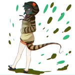 1girl aqua_hair commentary_request from_side full_body geta glowing glowing_eyes hand_in_pocket highres hood hoodie kemono_friends long_sleeves looking_at_viewer purple_neckwear snake_tail solo striped tail tamiku_(shisyamo609) tsuchinoko_(youkai_watch) vertical_stripes white_background
