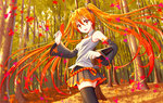 1girl :d aki_miku alternate_hair_color autumn_leaves black_legwear detached_sleeves floating_hair forest hatsune_miku highres leaf long_hair looking_back nature necktie open_mouth orange_eyes orange_hair oshou pleated_skirt skirt smile solo thighhighs tree twintails very_long_hair vocaloid zettai_ryouiki