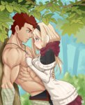 1boy 1girl abs against_tree blonde_hair blue_eyes blush breast_press dress earmuffs eye_contact face-to-face forest from_side hug kawa-v kazan_(kawa-v) leiko_(kawa-v) long_hair looking_at_another muscle nature nose_blush original outdoors red_eyes red_hair ribbed_sweater scarf shirtless sleeves_past_wrists sweater sweater_dress tree