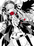 1girl bird_wings cross dress flower frilled_sleeves frills gothic_lolita hairband highres holding holding_flower lolita_fashion lolita_hairband long_hair long_sleeves monochrome moru one_eye_closed rose rozen_maiden solo suigintou very_long_hair wings