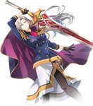 1girl aurelia_le_guin belt belt_buckle braid breasts buckle cape collar earrings eiyuu_densetsu eyebrows_visible_through_hair fighting_stance gloves greatsword grey_hair hair_between_eyes hair_blowing highres holding holding_sword holding_weapon jewelry long_hair long_skirt looking_at_viewer medium_breasts official_art pantyhose purple_eyes sen_no_kiseki sen_no_kiseki_3 sen_no_kiseki_4 side_braid skirt sleeve_cuffs smile solo source_request sword tassel weapon