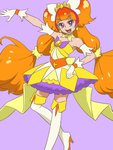 1girl amanogawa_kirara animated animated_gif ass assisted_exposure blush boots breasts commentary_request cum cum_on_body cum_on_upper_body cure_twinkle dress dress_pull earrings embarrassed facial gloves go!_princess_precure gradient_hair jewelry long_hair magical_girl multicolored_hair muramura_hito navel nipples nude orange_hair precure purple_eyes simple_background solo_focus thigh_boots thighhighs very_long_hair