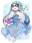 1girl aqua_hair bare_legs bare_shoulders blue_dress blue_hair blush breasts carrying_under_arm cleavage domino_mask dress fingernails flying_sweatdrops glass_slipper gradient_hair hand_up high_heels highres hoyashi_rebirth inkling long_hair looking_at_viewer mask multicolored_hair open_mouth pointy_ears purple_eyes see-through skirt_hold small_breasts solo sparkle splatoon splatoon_1 splattershot_pro_(splatoon) strapless strapless_dress sweat tentacle_hair very_long_hair weapon