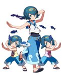 3girls arms_up baggy_pants blue_eyes blue_hair bright_pupils capri_pants fish hairband hou_(pokemon) looking_at_viewer multiple_girls one-piece_swimsuit pants pokemon pokemon_(anime) pokemon_(creature) pokemon_(game) pokemon_sm pokemon_sm_(anime) sandals short_hair siblings simple_background sisters sleeveless smile sui_(pokemon) suiren_(pokemon) swimsuit swimsuit_under_clothes tonami_kanji trial_captain twins water white_background wide_stance wishiwashi