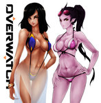 2girls arm_behind_back bangs bare_shoulders bikini black_hair blue_bikini body_writing bracelet breasts breasts_apart brown_eyes cleavage collarbone contrapposto copyright_name covered_nipples cowboy_shot dark_skin ear_piercing eye_of_horus facial_mark facial_tattoo fingernails groin hair_tubes hand_on_hip hand_on_leg highres jewelry large_breasts lips lipstick long_hair looking_at_viewer low-tied_long_hair makeup midriff multiple_girls nail_polish navel overwatch pharah_(overwatch) piercing pink_lipstick pointy_ears ponytail purple_bikini purple_hair purple_lips purple_nails purple_skin red_lips red_lipstick see-through short_hair simple_background sling_bikini smile strap_gap string_bikini sunglasses sunglasses_on_head swimsuit tattoo thigh_gap white_background widowmaker_(overwatch) yellow_eyes zettai_muri_no_akira
