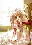 1girl bunny_hair_ornament chair covering_mouth dress hair_ornament hairband highres indoors koge_donbo lolita_fashion lolita_hairband long_hair long_sleeves looking_at_viewer misha_(pita_ten) official_art on_floor pink_dress pita_ten purple_eyes ringlets scan sitting solo