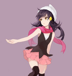 1girl bare_arms bare_shoulders beanie black_hair grey_background hair_ornament hat hirosuke_(psychexx) jewelry platinum_berlitz pokemon pokemon_special ring scarf skirt solo thighhighs yellow_eyes