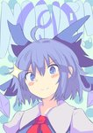 (9) 1girl >:) ahoge blue_eyes blue_hair blush_stickers bow cirno dress english hair_bow ice ice_wings looking_at_viewer short_hair smile solo sparkle symbol-shaped_pupils touhou uchisukui upper_body v-shaped_eyebrows wings