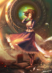 1girl 2014 bag bioshock bioshock_infinite bird blue_eyes boots breasts brown_hair choker cleavage dated dress elizabeth_(bioshock_infinite) highres inoi short_hair signature songbird_(bioshock_infinite)