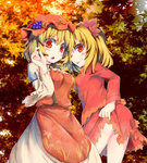2girls aki_minoriko aki_shizuha ass autumn autumn_leaves blonde_hair breasts dress food food_on_head from_behind fruit grapes killing leaf leaf_on_head long_sleeves maple_leaf mob_cap multiple_girls object_on_head open_mouth red_eyes shirt short_hair siblings sisters skirt skirt_lift tongue tongue_out touhou